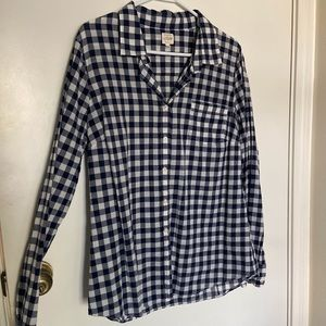Jcrew perfect button up navy white gingham Large